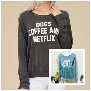 Papermoon Dogs Coffee and Netflix Sweatshirt
